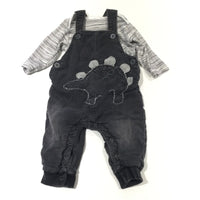 Dinosaur Appliqued Black Lined Lightweight Denim Dungarees & Black & White Striped Long Sleeve Bodysuit Set - Boys 3-6 Months