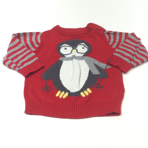 Skiing Penguin Red & Grey Lightweight Knitted Jumper - Boys Newborn - Christmas