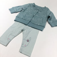 Rabbits Mid Teal & White Jersey Cardigan & Light Teal Leggings - Girls Newborn
