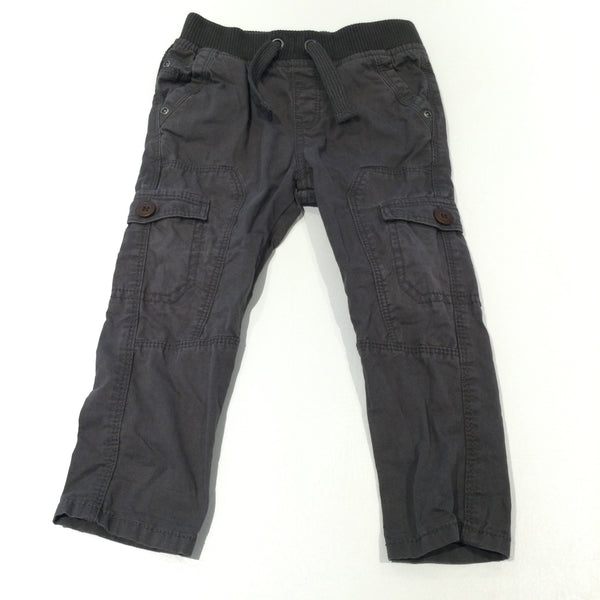 Brown Lightweight Cotton Pull On Cargo Trousers - Boys 12-18 Months