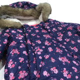 Pink & Purple Flowers Navy Fleece Lined Pramsuit with Hood & Detachable Mitts - Girls 0-3 Months