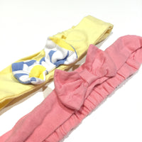 Set of 2 Headbands with Bows - Blue, White & Yellow / Pink - Girls 0-3m