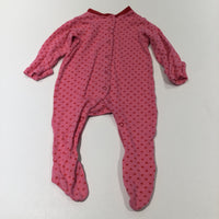 Hearts Red & Pink Babygrow with Integrated Mitts - Girls 3-6 Months