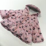 Rabbits Pink, Grey & White Padded Showerproof Coat with Hood - Girls 3-6 Months