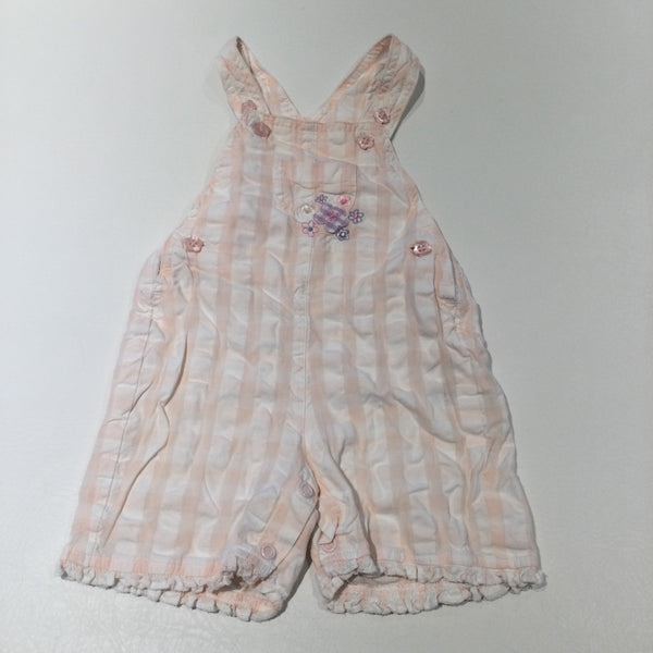 Flowers Embroidered Pale Pink & White Striped Lightweight Cotton Dungarees - Girls 3-6 Months