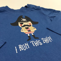'I Run This Ship' Pirate Blue Long Sleeve Top - Boys 3-6 Months