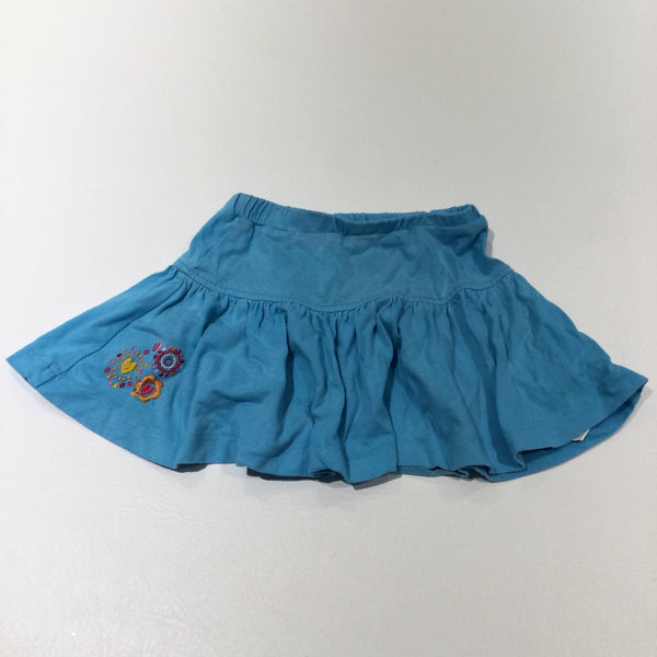 Flowers Embroidered Blue Jersey Skirt - Girls 9-12 Months