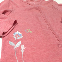 Flower & Butterfly Embroidered Pink Jersey Cardigan - Girls 6-9 Months