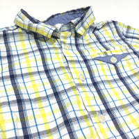 'Great Catch' Badge Yellow, Blue, Navy & White Checked Short Sleeve Cotton Shirt - Boys 2-3
