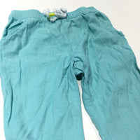 Blue Lightweight Linen Trousers - Girls 9-12 Months
