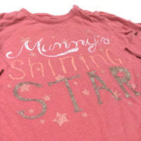 'Mummy's Shining Star' Coral Pink Long Sleeve Top - Girls 6-9 Months