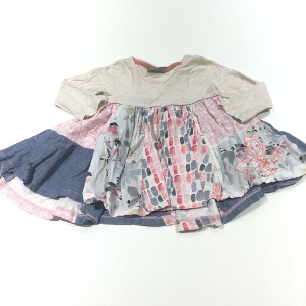 Patchwork Pink, Blue & Cream Jersey & Cotton Dress - Girls 6-9 Months