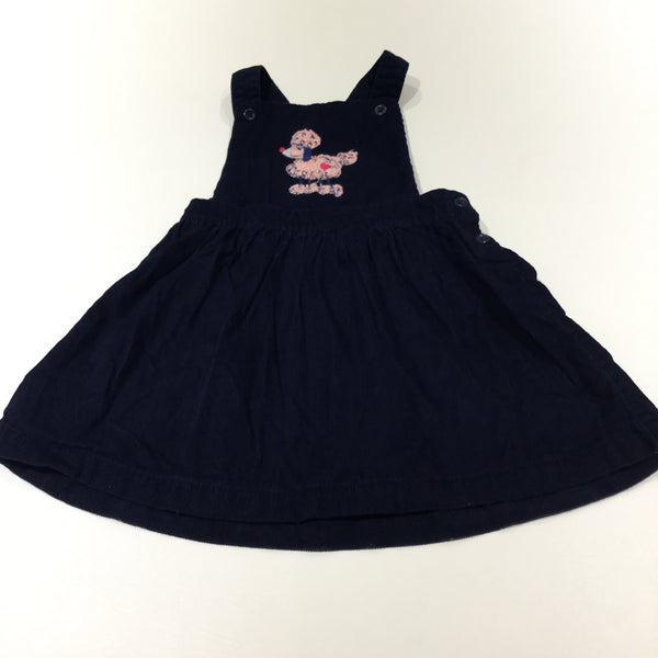 Poodle Embroidered Navy Corduroy Dungaree Dress - Girls 12-18 Months
