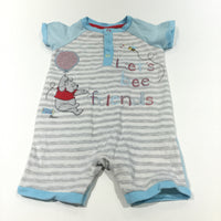 'Let's Bee Friends' Winnie The Pooh Appliqued Grey, White & Blue Striped Short Sleeve Jersey Romper - Boys 6-9 Months