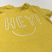'Hey!' Embroidered Yellow T-Shirt - Boys/Girls 9-12 Months