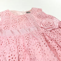 Pink Broderie Party Dress with 3D Flower & Net Hem - Girls 6-9m