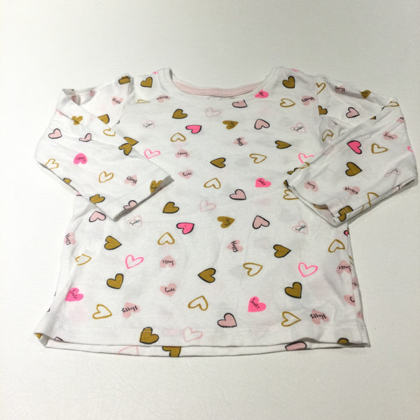 'Cute, Happy, Smile' Hearts Pink, Mustard Yellow & White Long Sleeve Top - Girls 9-12 Months
