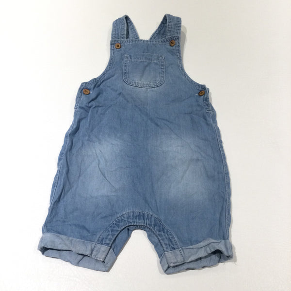 Light Blue Lightweight Denim Short Dungarees - Boys/Girls 9-12 Months