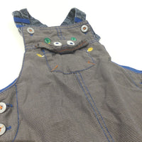Alien Face Brown & Blue Checked Lined Cotton Dungarees - Boys 9-12 Months