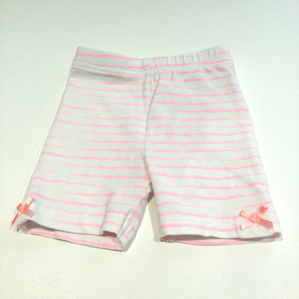 Pink & White Striped Jersey Shorts - Girls 3-6m