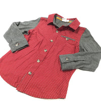 Grey, Red & White Spots Cotton & Jersey Shirt - Boys 12-18 Months