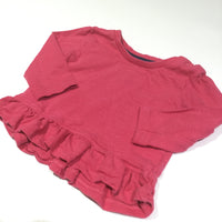 Dark Pink Long Sleeve Top with Frilly Hem - Girls 3-6m