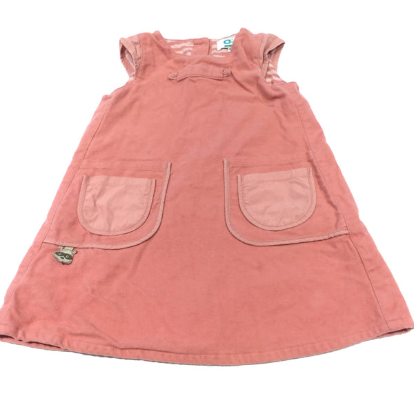Coral Pink Lined Soft Jersey Pinafore Dress - Girls 18-24 Months
