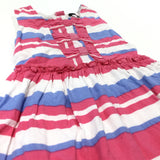 Pink, White & Blue Striped Cotton Party Dress - Girls 18-24 Months