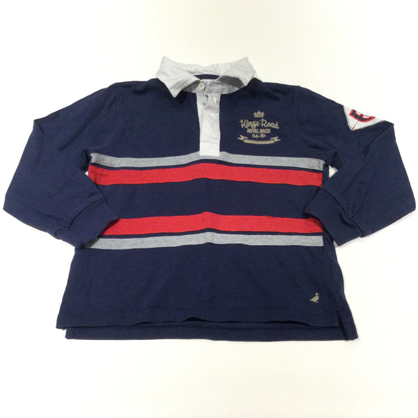 'Kings Road Royal Race' Embroidered Red, Navy & Grey Rugby Shirt Style Long Sleeve Top - Boys 7-8 Years