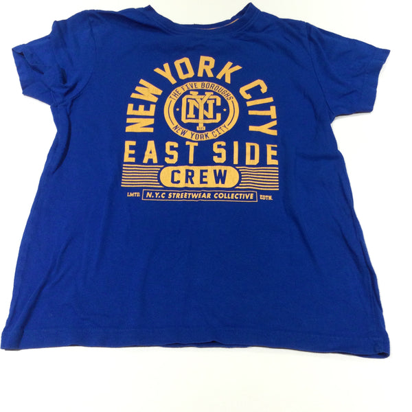 'New York City East Side Crew' Blue T-Shirt - Boys 7-8 Years
