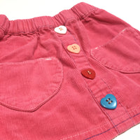 Colourful Heart Buttons & Pockets Pink Corduroy Skirt - Girls 6-9m