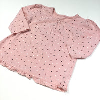 Hearts Pink Long Sleeve Tunic Top - Girls 6-9m