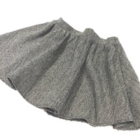 Sparkly Black & Grey Zig Zag Pattern Tweedy Skirt - Girls 3-4 Years