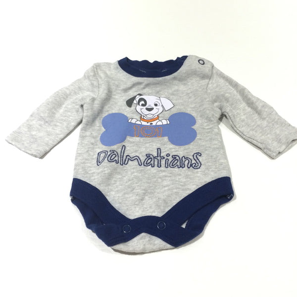 '101 Dalmations' Grey & Navy Long Sleeve Bodysuit - Boys Newborn