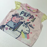 'Peppa It's Magic' Peppa Pig & Unicorn Pink & Yellow Short Sleeve Pyjama Top - Girls 12-18 Months