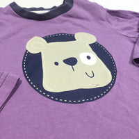 Bear Face Purple Long Sleeve Top - Boys 6-9m