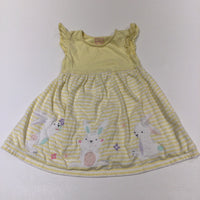 Rabbits Appliqued Yellow & White Striped Jersey Dress - Girls 12-18 Months