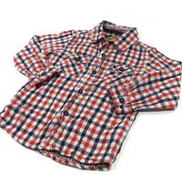 Red, White & Navy Checked Cotton Shirt - Boys 2-3 Years