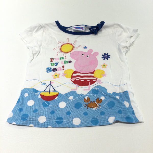 'Fun By The Sea' Peppa Pig White & Blue T-Shirt - Girls 12-18 Months