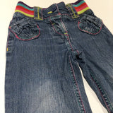 Mid Blue Denim Jeans with Colourful Waistband - Girls 18-24 Months