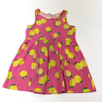 Lemons Yellow & Pink Jersey Sun Dress - Girls 18-24 Months
