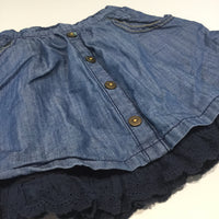 Mid Blue Denim Effect Cotton Layered Skirt  - Girls 18-24m