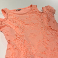 Bright Peach Jersey Dress with Lacey Overlay - Girls 5-6