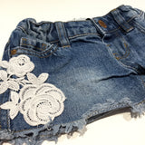 Mid Blue Denim Shorts with Adjustable Waistband & Lace Details - Girls 18-24m