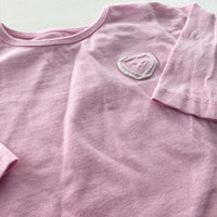 Appliqued Heart Pale Pink Long Sleeve Top - Girls 3-6m