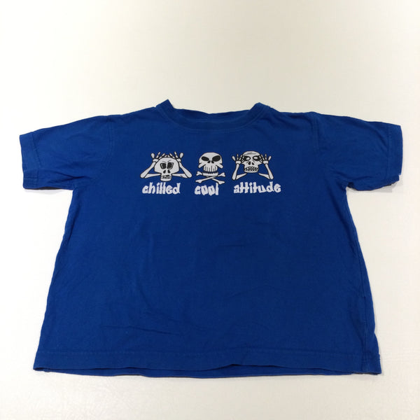 'Chilled Cool Attitude' Skeletons Blue T-Shirt - Boys 5-6 Years