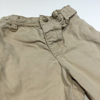 Beige Cotton Twill Shorts with Adjustable Waistband - Boys 18-24m