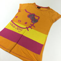 'Hello Kitty' Sequin Bow Orange, Yellow & Pink Tunic Top - Girls 9-10 Years