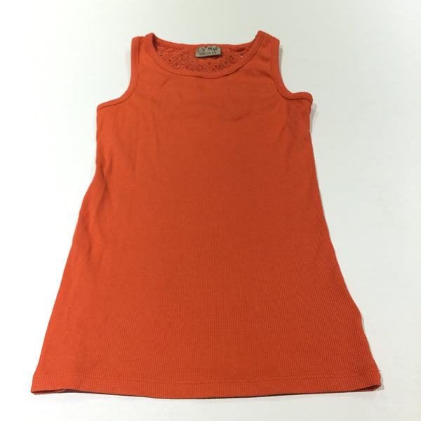 Orange Ribbed Vest Top with Broderie Back Panel - Girls 9 Years