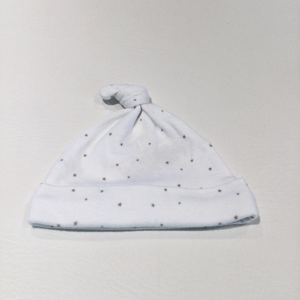 Stars Grey & White Knotted Jersey Hat - Boys/Girls Tiny Baby